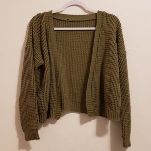 Womens Knit Cropped Cardigan Olive Green